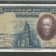 SPANIA 25 PESETAS 1928 [1] VF+, P-74b - bancnota europa