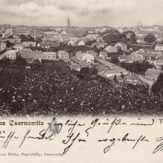 CERNAUTI SALUTARI DIN CERNAUTI VEDERE GENERALA CLASICA 1900 EDIT. LEON KONIG - Carte Postala Bucovina pana la 1904, Circulata, Printata