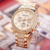 Ceas dama Geneva  auriu bratara metalica cadran cu cristale si  data  + cutie, Elegant, Quartz, Metal necunoscut