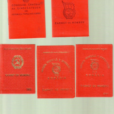 Lot carnete membru sindicat RPR, RSR, Romania de la 1950
