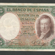 SPANIA 25 PESETAS 1931 [2] VF, P-81 - bancnota europa