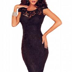 N455-1 Rochie midi eleganta, de seara, cu model brodat - Rochie de seara, Marime: M/L