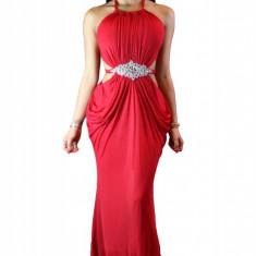P454-3 Rochie eleganta de seara, cu model drapat si accesoriu cu pietre in talie - Rochie de seara, Marime: M/L, S/M, Rosu, Maxi