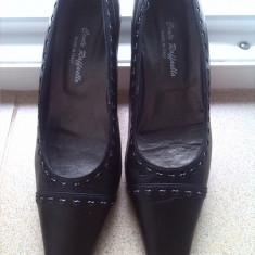 Pantofi cu toc din piele naturala italia marime 36 - Pantof dama, Culoare: Negru