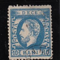 ROMANIA 1872, LP 36, CAROL I CU BARBA VALOAREA 10 BANI, DANTELAT, STAMPILAT - Timbre Romania