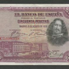 SPANIA 50 PESETAS 1928 [2] XF, P-75a - bancnota europa