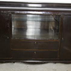 Servanta vintage/antica din lemn masiv, cu vitrina; Bufet; Dulap; Comoda, Comode si bufete, Art Deco, 1900 - 1949