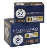 CUTIE CAPSULE  pentru monede ( 10 buc )  LINDNER  Ǿ 27 mm