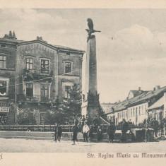 CERNAUTI, STRADA REGINA MARIA CU MONUMENTUL OSTASESC SI MAGAZIN DE FIERARIE - Carte Postala Bucovina dupa 1918, Necirculata, Printata
