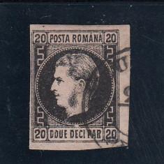 ROMANIA 1867  CAROL I CU FAVORITI VALOAREA 20 PAR. HARTIE SUBTIRE  EROARE STAMP.