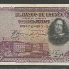 SPANIA 50 PESETAS 1928 [3] VF+, P-75a - bancnota europa