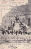 CLUJ , STATUIA LUI MATEI CORVIN SI PIATA , CLASICA , CIRCULATA SEPTEMBRIE 1904, Printata