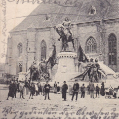 CLUJ, STATUIA LUI MATEI CORVIN SI PIATA, CLASICA, CIRCULATA SEPTEMBRIE 1904 - Carte Postala Transilvania pana la 1904, Printata