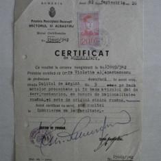 CERTIFICAT PENTRU INSCRIERE FACULTATE, 1942, SECT. III ALBASTRU BUCURESTI - Diploma/Certificat