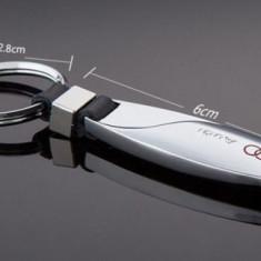 Breloc metalic argintiu detaliu piele eco pentru auto Audi + ambalaj cadou