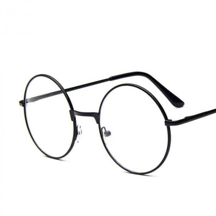 Ochelari rotunzi lentila transparenta gen unisex model retro husa inclusa