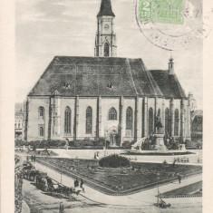 CLUJ, BISERICA SF. MIHAIL, TCV, CIRCULATA IUL.1927 - Carte Postala Transilvania dupa 1918, Printata, Cluj Napoca