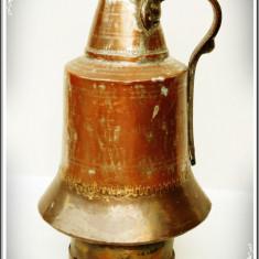 CARAFĂ MARE ȘI VECHE PT. UNTDELEMN - CAP. 5 LITRI, CUPRU MASIV ARGINTAT - 2 KG! - Metal/Fonta, Vase