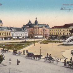 CLUJ DETALIU DIN PIATA MATEI CORVIN STATUIA M CORVIN TRASURI CIRC. IUL. 1913 - Carte Postala Transilvania 1904-1918, Cluj Napoca, Circulata, Printata