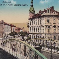 CLUJ, PODUL FERENCZ JOSEF DE PESTE SOMES, CIRCULATA APR.1915 - Carte Postala Transilvania 1904-1918, Cluj Napoca, Printata