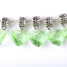 SET 2 Charmuri inima swarovski verde talisman pandantiv pt bratara PANDORA - Bratara argint