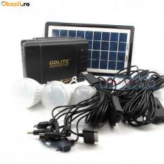 Panou solar fotovoltaic 3 becuri incarcare telefon KIT iluminare GDLITE GD8006