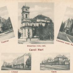 CAREI, CAREII MARI, TEATRUL LICEUL, GARA, BISERICA ROM-CAT, CASTELUL KAROLYI - Carte Postala Maramures dupa 1918, Necirculata, Printata