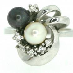 Inel vintage aur alb 14k cu briliante si perle reducere - Inel diamant
