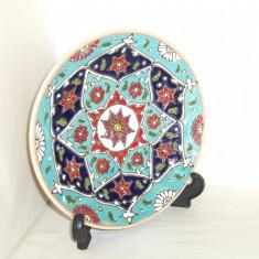 Farfurie decorativa (aplica) ceramica Persia, emailata Mina-kari, 100% hand made - Arta din Asia