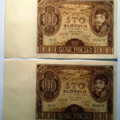 122. POLONIA 2X100 ZLOTYCH ZLOTI 1934 XF SERII CONSECUTIVE 18-19 - bancnota europa, An: 1941