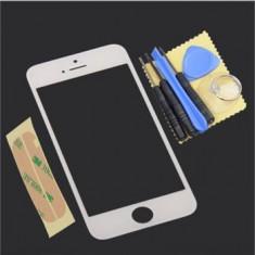 Sticla display fata pentru iPhone 5 alb adeziv si scule cadou
