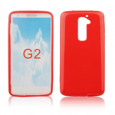 Husa LG G2 D802 TPU Rosie - Husa Telefon LG, Rosu, Gel TPU, Fara snur, Carcasa