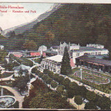 Bnk cp Baile Herculane - Casino si Parcul - uzata 1923 - Carte Postala Banat dupa 1918, Circulata, Printata