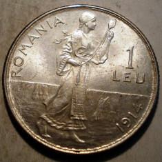 R.047 ROMANIA CAROL I 1 LEU 1914 XF/AUNC ARGINT 5g - Moneda Romania