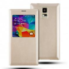 Husa Samsung Galaxy S5 S-VIEW Gold - Husa Telefon Samsung, Auriu, Cu clapeta, Toc