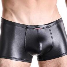 Boxer aspect PIELE - nylon elastic cu aspect piele lucioasa - negru - Boxeri barbati, Marime: L