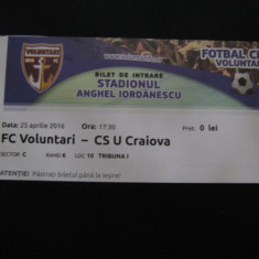 FC Voluntari-Universitatea Craiova (25.04.2016)/bilet de meci - Program meci