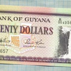 A 623 BANCNOTA-GUYANA - 20 DOLLARS -ANUL(2009) -SERIA495657-starea care se vede