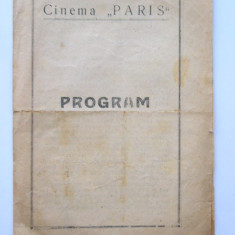 BRPG - PROGRAM CINEMA - ANII 30 - CINEMATOGRAFUL PARIS - Pliant Meniu Reclama tiparita