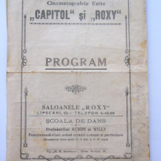 BRPG - PROGRAM CINEMA - ANII 30 - CINEMATOGRAFELE UNITE CAPITOL SI ROXY - Pliant Meniu Reclama tiparita