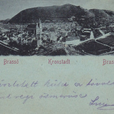 BRASOV, VEDERE GENERALA, CLASICA, CIRC. AUG 1900 ED. W. HIEMESCH, KRONSTADT - Carte Postala Transilvania pana la 1904, Circulata, Printata