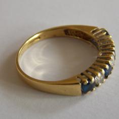 Inel de aur 18k cu diamante si safire - 441 - Inel aur, Culoare: Galben, 46 - 56