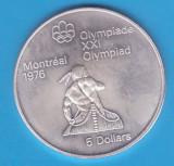 (1) MONEDA DIN ARGINT CANADA - 5 DOLLARS 1974, J.O. MONTREAL 1976 - CAIAC, America de Nord