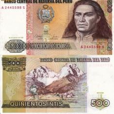 PERU 500 intis 1987 UNC!!! - bancnota america