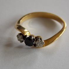 Inel de aur cu safir si diamante - 442 - Inel aur, Carataj aur: 18k, Culoare: Galben, 46 - 56