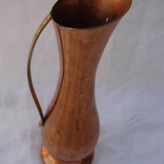 Vas decorativ tip vaza din cupru cu maner din alama (2) - Arta din Metal
