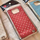 Husa SAMSUNG GALAXY S2 alba albastra sau rosie cromata cu strasuri - Husa Telefon Asus, Samsung Galaxy S2 Plus, Negru, Cu clapeta