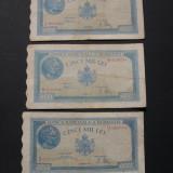 Lot 3 bancnote DIFERITE  5000  lei  1945