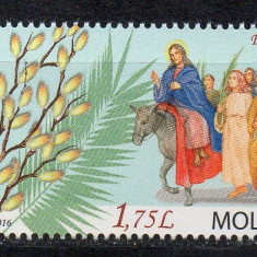 MOLDOVA 2016, Sarbatori crestine, Floriile, serie neuzata, MNH, Nestampilat