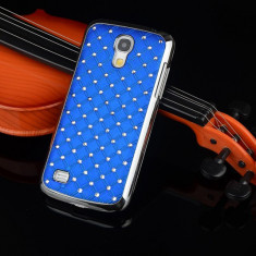 Husa SAMSUNG GALAXY S4 MINI cromata cu strasuri albastra - Husa Telefon Asus, Negru, Cu clapeta